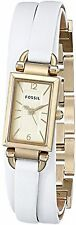 NEW Fossil JR1441 Women's Delaney White Triple-Wrap Leather Gold Rectangle Watch