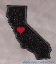 Embroidered Black Glitter Sparkle California CA Love State Patch Iron On Sew USA
