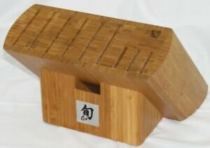 Shun 11-Hole Bamboo Chef Knife Holder Block with 6 Wide Slots - excellent