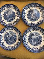 "4 Ridgway Staffordshire English China - 8 1/2/"" Plates - ""Woburn"" Blue"