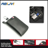 Leather Men's car key bag multi function business key box/manager/Chains Black