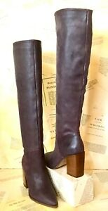 Free People Riley Tall Slouch Boots Over The Knee Pull On Brown Plum 38/8 NEW