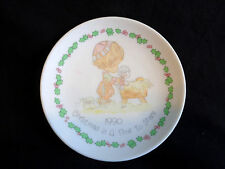 "Precious Moments 4"" Mini Plate 1990 Christmas is a Time to Share Porcelain"