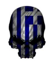Greece Skull Decal - Greek Flag Sticker Graphic