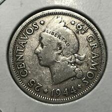 1944 DOMINICAN REPUBLIC SILVER 25 CENTAVOS NICE COIN