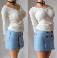 """1/6 Female White V Top W Light Blue Skirt Dress Clothing Model F 12"""" Figure Body"""