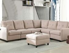 7-Piece Modular Sectional Sofa Modern Living Room Linen Couch With Back Cushion