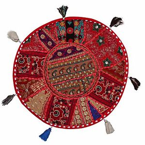 Indian Vintage Round Floor Cushion Cover Couch Patchwork Bohemian Pillow 18x18
