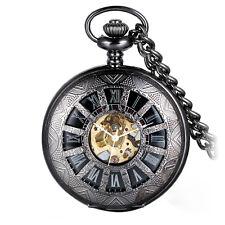 Mens Black Roman Hollow Skeleton Mechanical Steampunk Pocket Watch Hand Winding