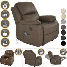 Fernsehsessel HANNE + elektrischer Massage + Wärme XXL Schlafsessel in NOUGAT