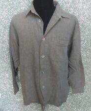180 E82 Signum Camisa de Hombre Talla L Gris Latón Manga Larga Cuello Kent