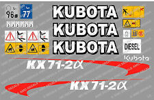 KUBOTA KX71-2A MINI DIGGER COMPLETE DECAL SET WITH SAFETY WARNING SIGNS