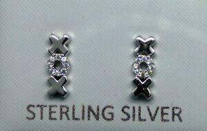 Sterling Silver 925 CZ XOX Hugs & Kisses Stud Earrings Gift Boxed Cubic Zircona