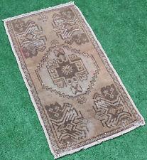 Turkish Rug 18''x34'&# 039; Hand Woven Oushak Mini Carpet 48x89cm Door Mat Yastik