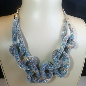 STEPHAN & CO SILVER POPCORN BLUE NECKLACE NWT