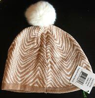 Vera Bradley Zebra Intarsia Cozy Knit Pom Pom Hat with Fleece Ear Warmer NWT