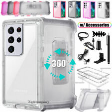 For Samsung Galaxy S21 S21+Ultra 5G Clear Case Cover Belt Holster Clip Accessory