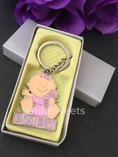 12-Baby Shower Favors Decorations Its A Baby Girl Keychains Recuerdos Niña Pink