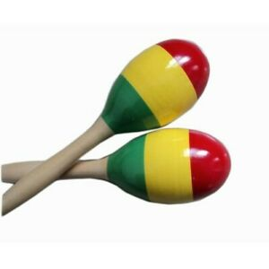 "One Pair of Large Wood Maracas New 3"" D x 9.5"" L"