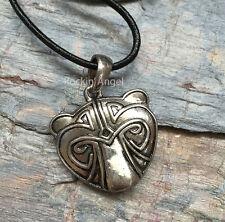 Antique Silver Plt Bear Face Pendant Necklace, Ladies Mens Gift Viking Norse