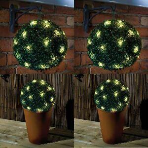 2 x 28CM SOLAR POWERED TOPIARY BALL FLOWER LIGHTS GARDEN LIGHT 20 LED GREEN