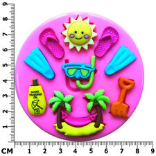 Holiday Beach Fun Palm Tree Flip Flop Snorkel Silicone Mould by Fairie Blessings