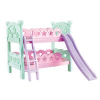 "9-11"" Reborn Doll Furniture Toy Bunk Bed with Ladder Slide Macarons Color"