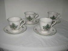 Nikko Happy Holiday Christmas Cups Saucers Set of 4 Tree Japan Blue Mark