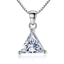 Real 925 Silver AAAA Triangle Zircon Pendant Necklace Women Fashion Jewelry