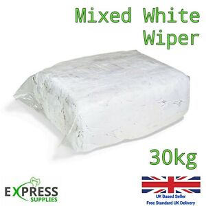 30kg Bag White Cotton Mix Cleaning Rags Wiping Wipers Garage Engineering Cloths