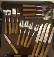 Bakelite Flatware Set - Unique Basket weave / Faux Bamboo, Langbein Stainless