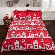 Renne Route coton brossé flannelle Set Housse de couette double Noël rouge
