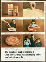 1967 Chef Boy-Ar-Dee Pizza Print Ad Hard to Be Modest When the Family Raves