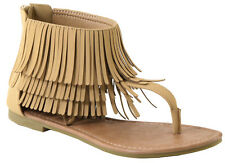 New Womens Thong T-Strap Open Toe Layered Fringe Cuff Gladiator Flat Sandal Shoe