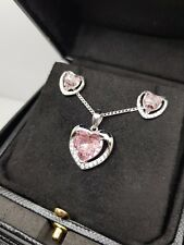 White gold finish pink sapphire and created diamond heart pendant and earrings