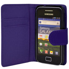 blue WALLET Plain Case with Card Slots for Samsung Galaxy Ace GT-S5830/GT-S5830i