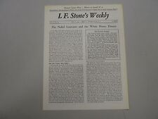I. F. Stone's Weekly Vol. X, No. 18 from May 7, 1962! RARE indie paper!