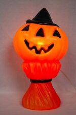 "Vintage Halloween 1969 Empire 15"" Jack-O-Lantern on a Haystack Lighted Blow Mold"