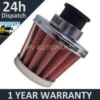 25MM AIR OIL CRANK CASE BREATHER FILTER MOTORCYCLE QUAD CAR RED & CHROME CONE