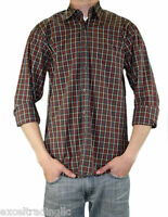 STEVEN ALAN Red & Forest Green Plaid Long Sleeve Reverse Shirt MST01CT NWT $168