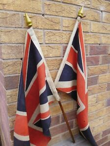 PAIR of Distressed Antique Union Jack Flags ~ANTIQUE SHOP DISPLAY~ LE12 or POST