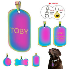 Personalised Pet Dog ID Tags Military/Bone/Round Engraved Custom Cat Name Discs