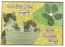 ACEO ATC Art Collage Print Kittens Cats Angels Invisible Wings Grey Tabby
