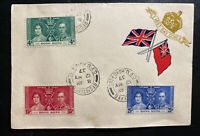 1937 Hong Kong First Day Registered Cover FDC King George VI Coronation KGVI