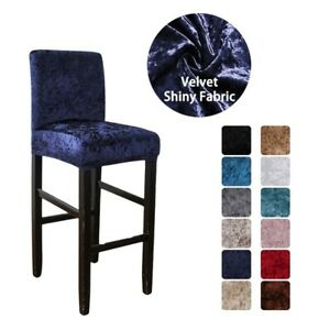 Velvet Shiny Bar Stool Chair Cover Short Back Dining Room Chair Seat Slipcover
