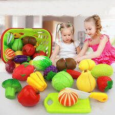24pcs Plastic Fruit Vegetable Pretend Role Play Pizza Kitchen Cutting Kids Gifts