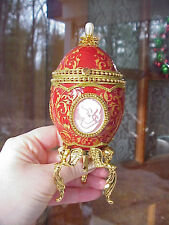 REAL Hand Decorated Etched Goose Egg Engagement Ring Gift Box Red Cameo 3 Sides