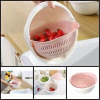 Double Drain Basket Bowl Washing Kitchen Strainer Noodles Vegetables Fruit