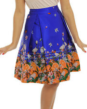 10-26 'marie' Orange Blue Stripe Print Swing Skirt LINDY Bop Pin up Plus Size UK 20 Waist 95cms
