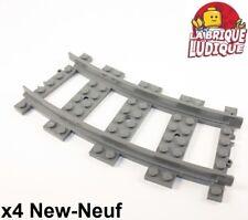 Lego - 4x train eisenbahn rail track plastic RC curve courbe 53400 NEUF